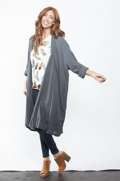 Linen Cardigan - Rich Grey