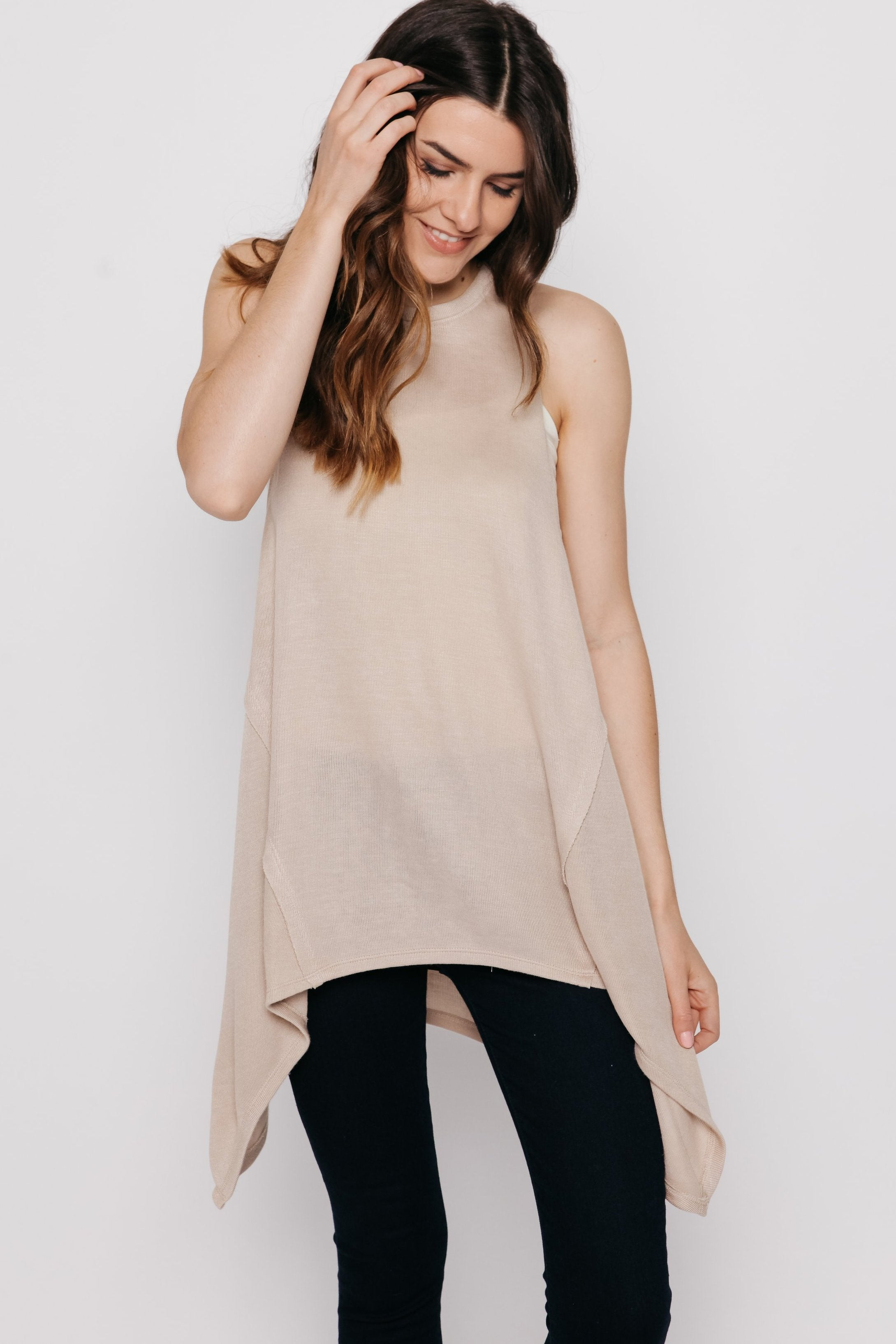 Lorna Sleeveless Top - Natural