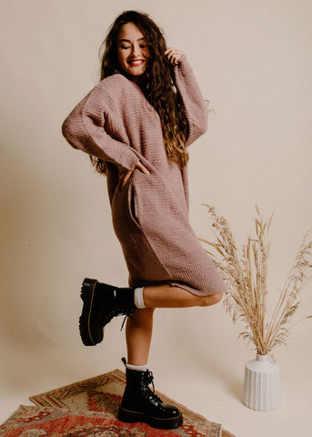 Lucca Sweater Dress - Mauve