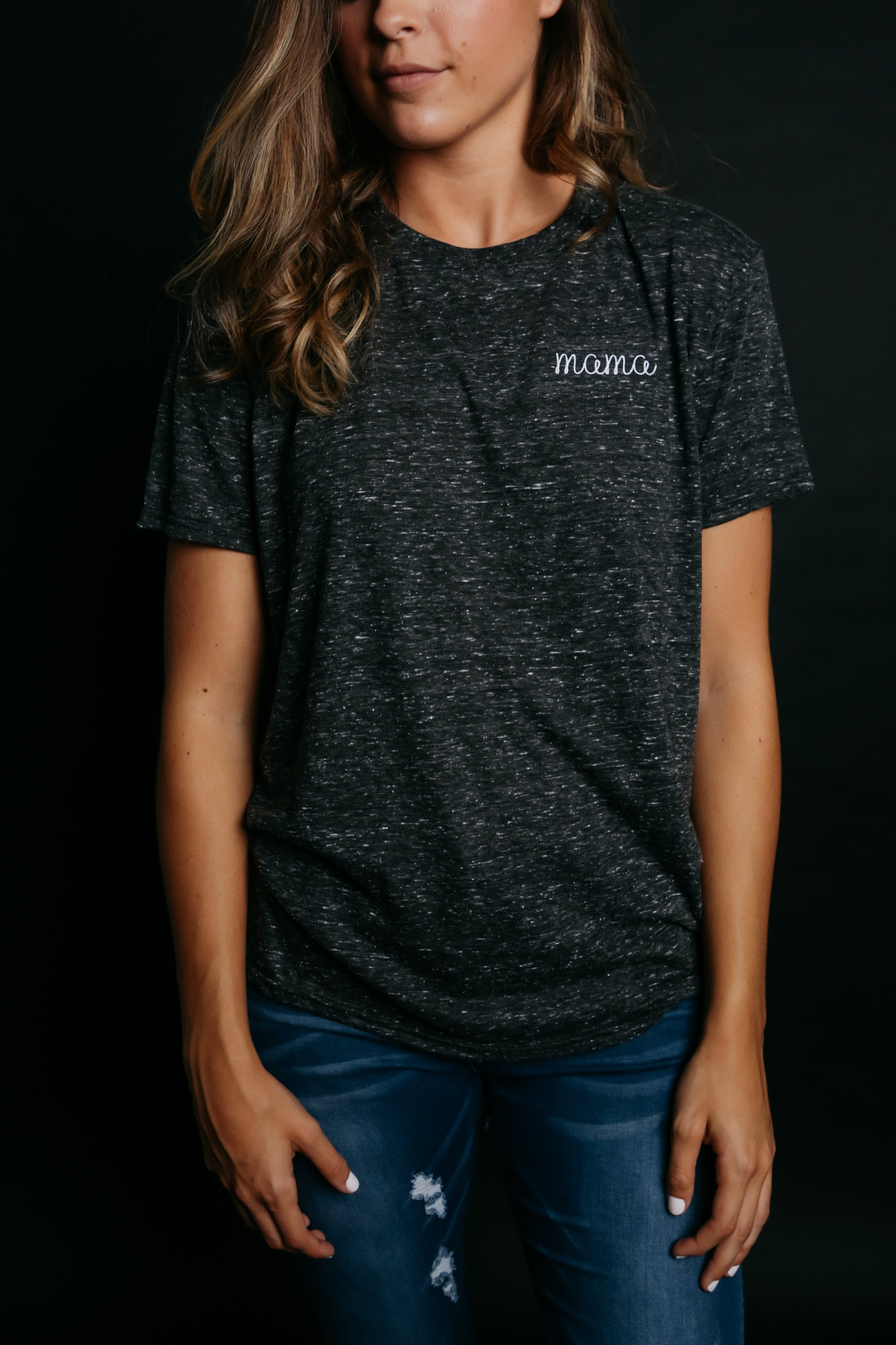 Mama Embroidered Tee - Charcoal