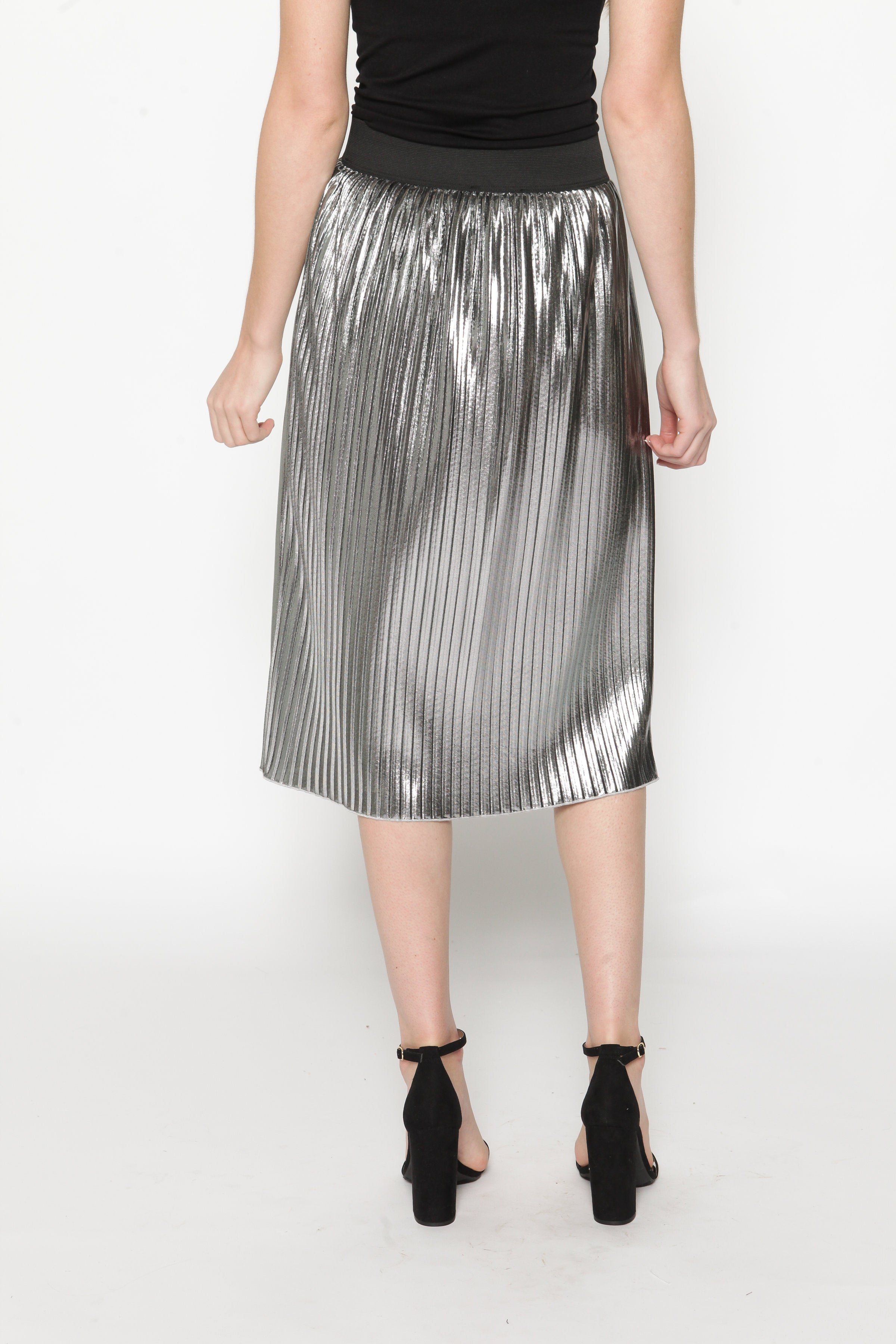 Mariah Metallic Pleated Skirt