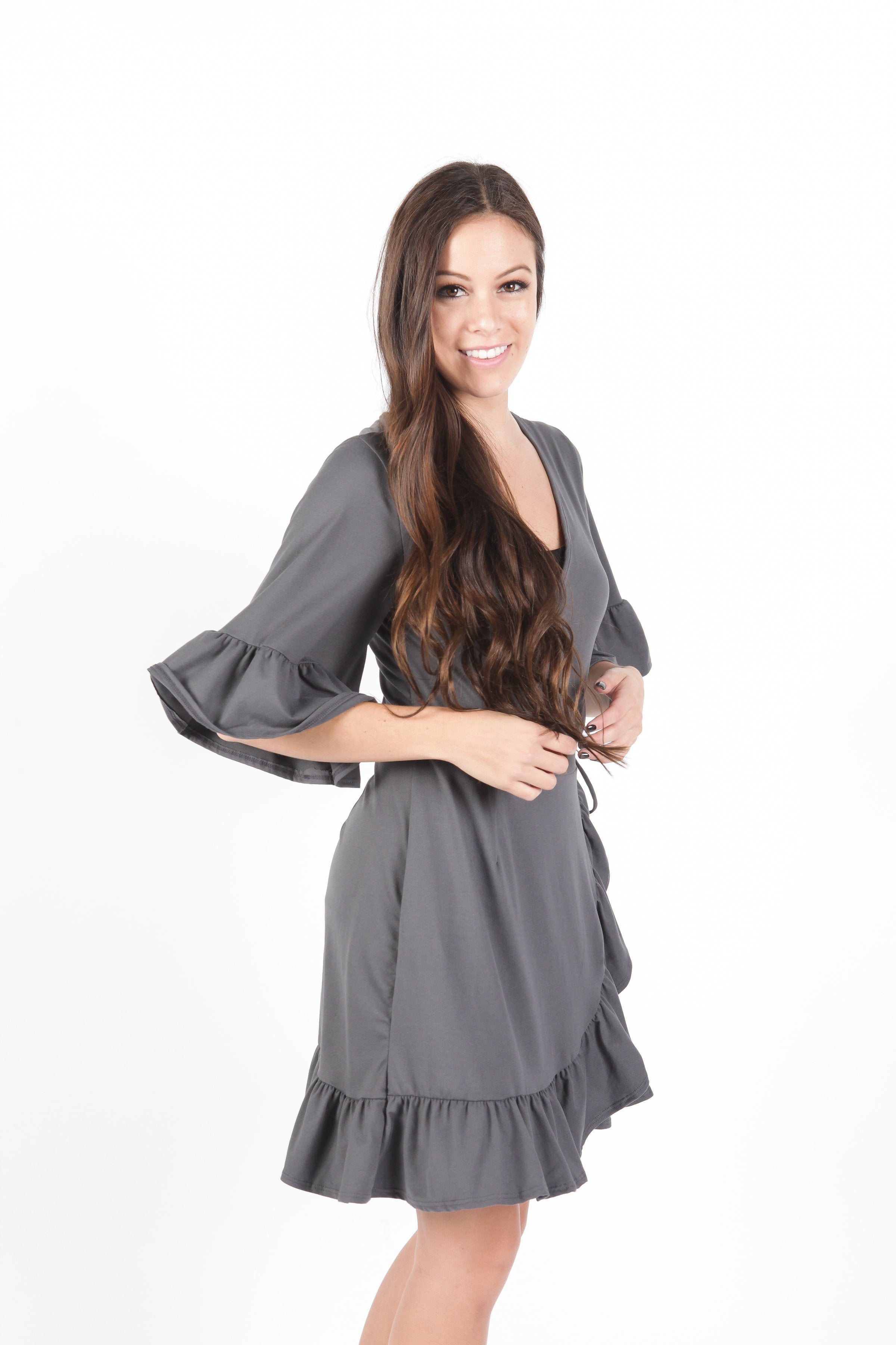 Marissa Wrap Dress - Charcoal