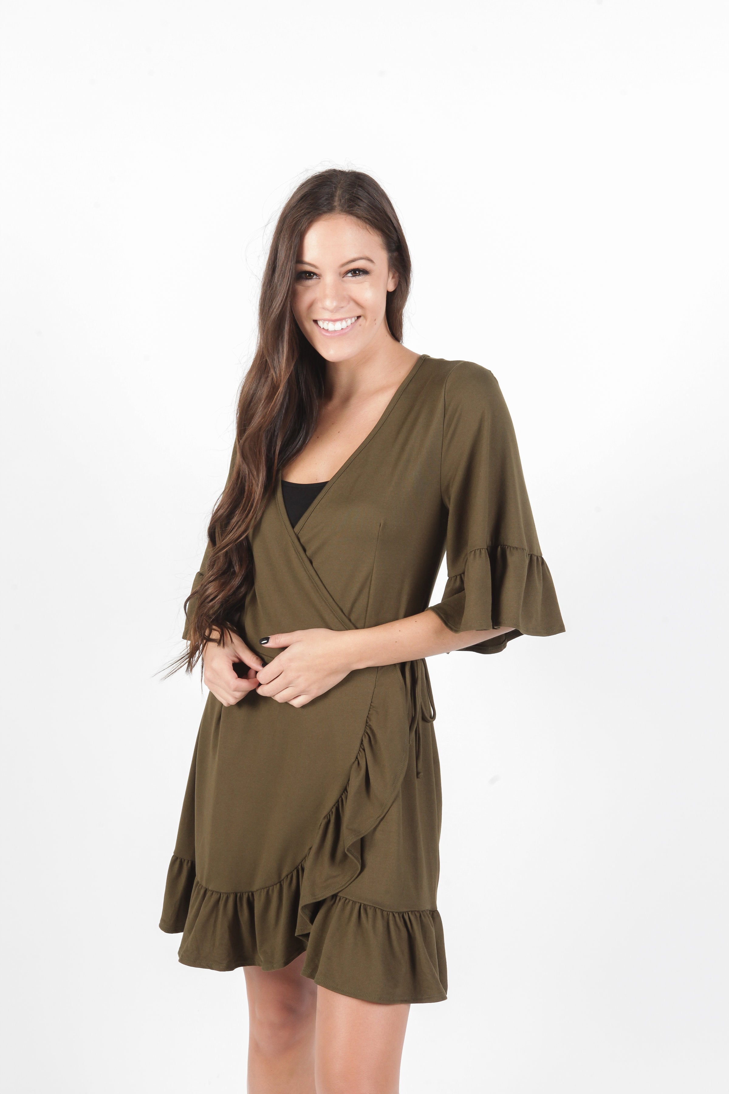 Marissa Wrap Dress - Olive