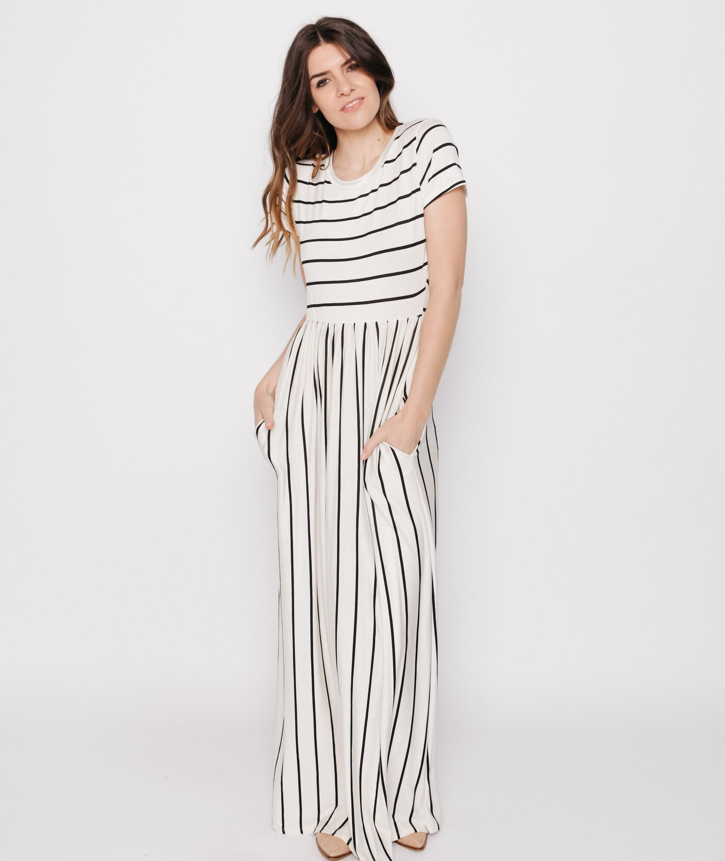 Matilda Striped Maxi Dress - Ivory