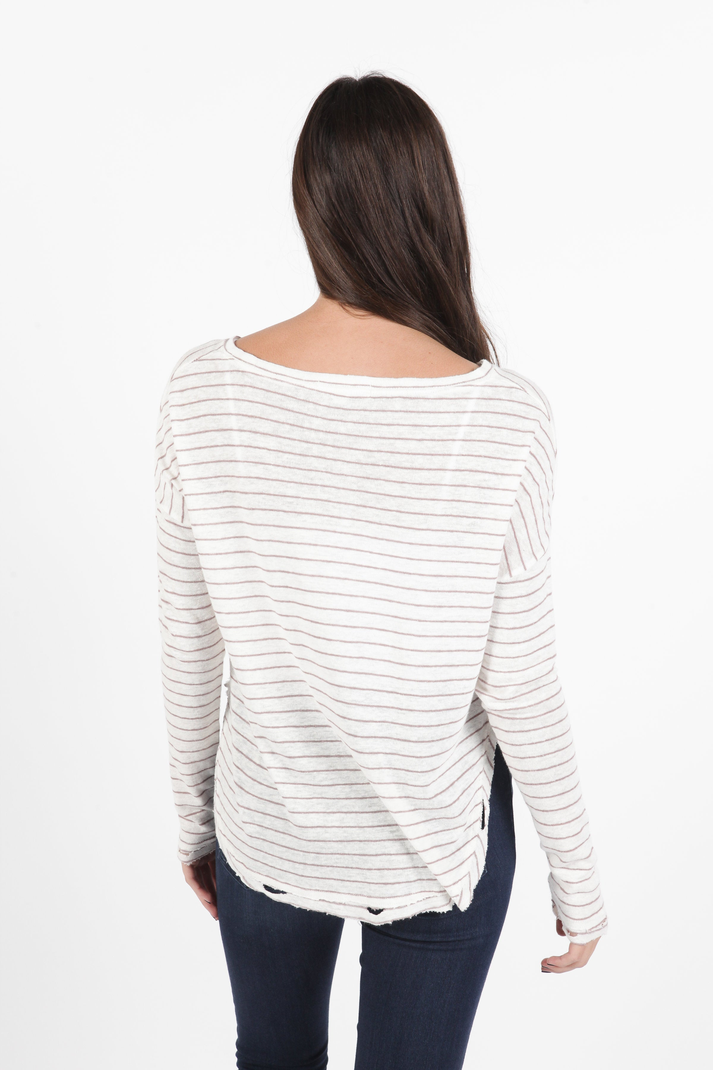 Meaghan Striped Top - Mauve
