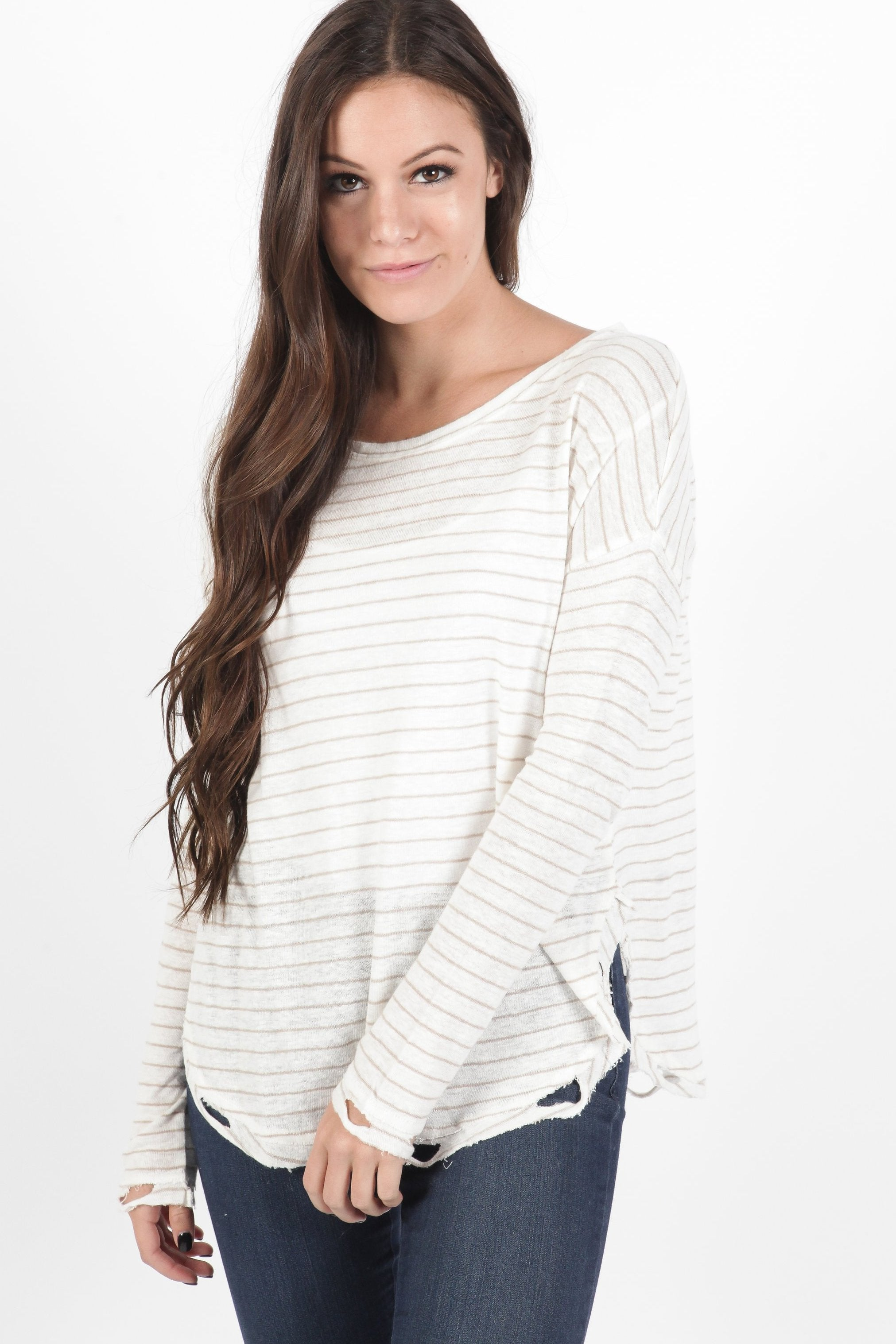 Meaghan Striped Top - Sand