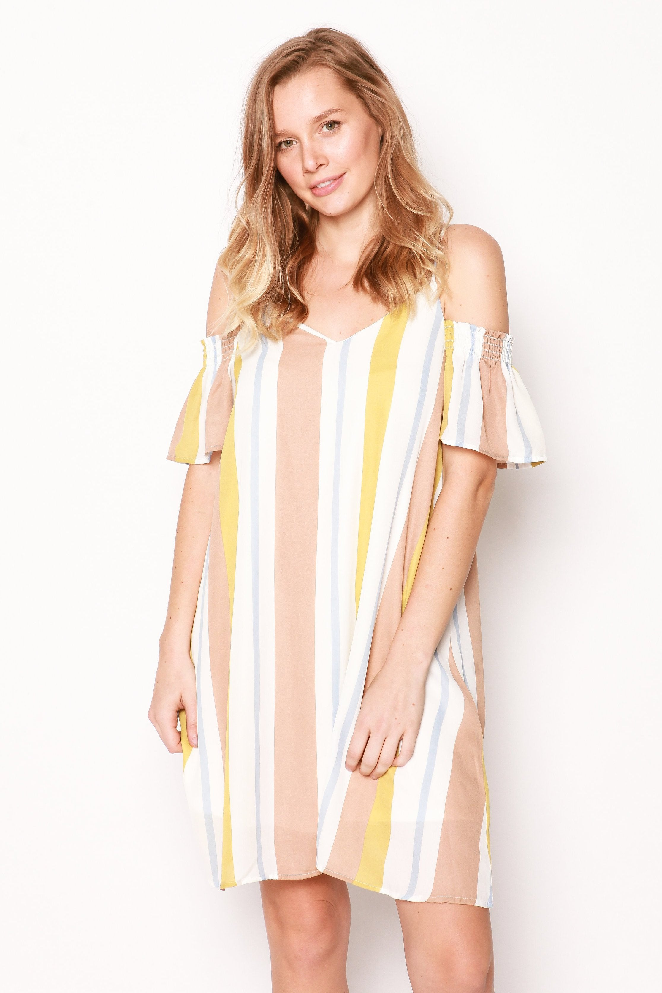 Molly Striped Off the Shoulder Dress - Citron