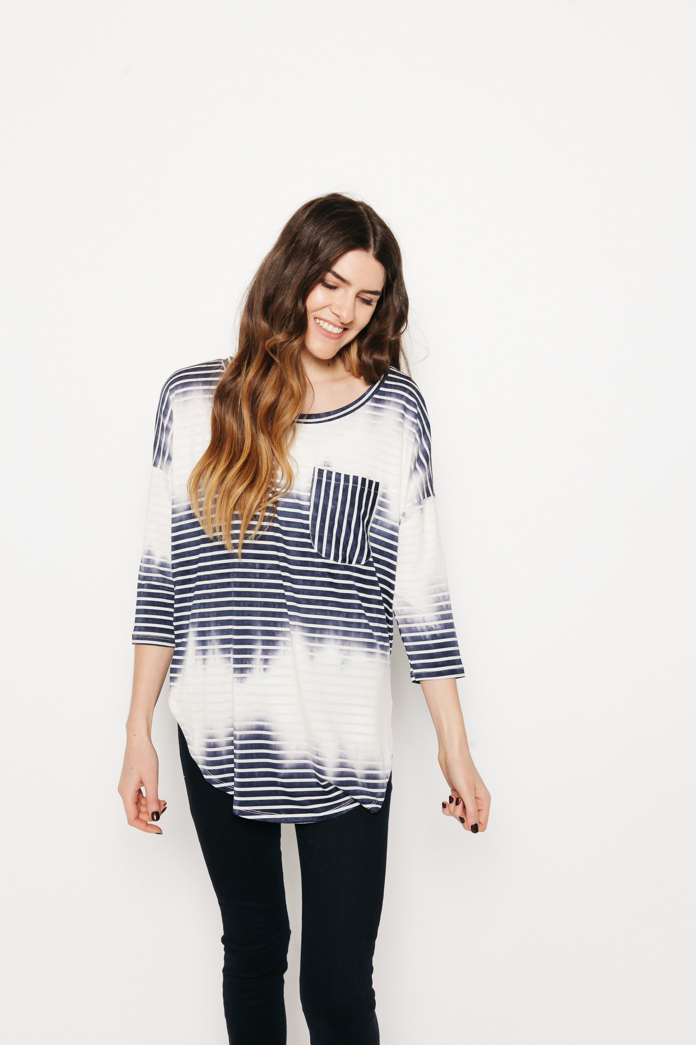 Myra Striped Tee - Blue