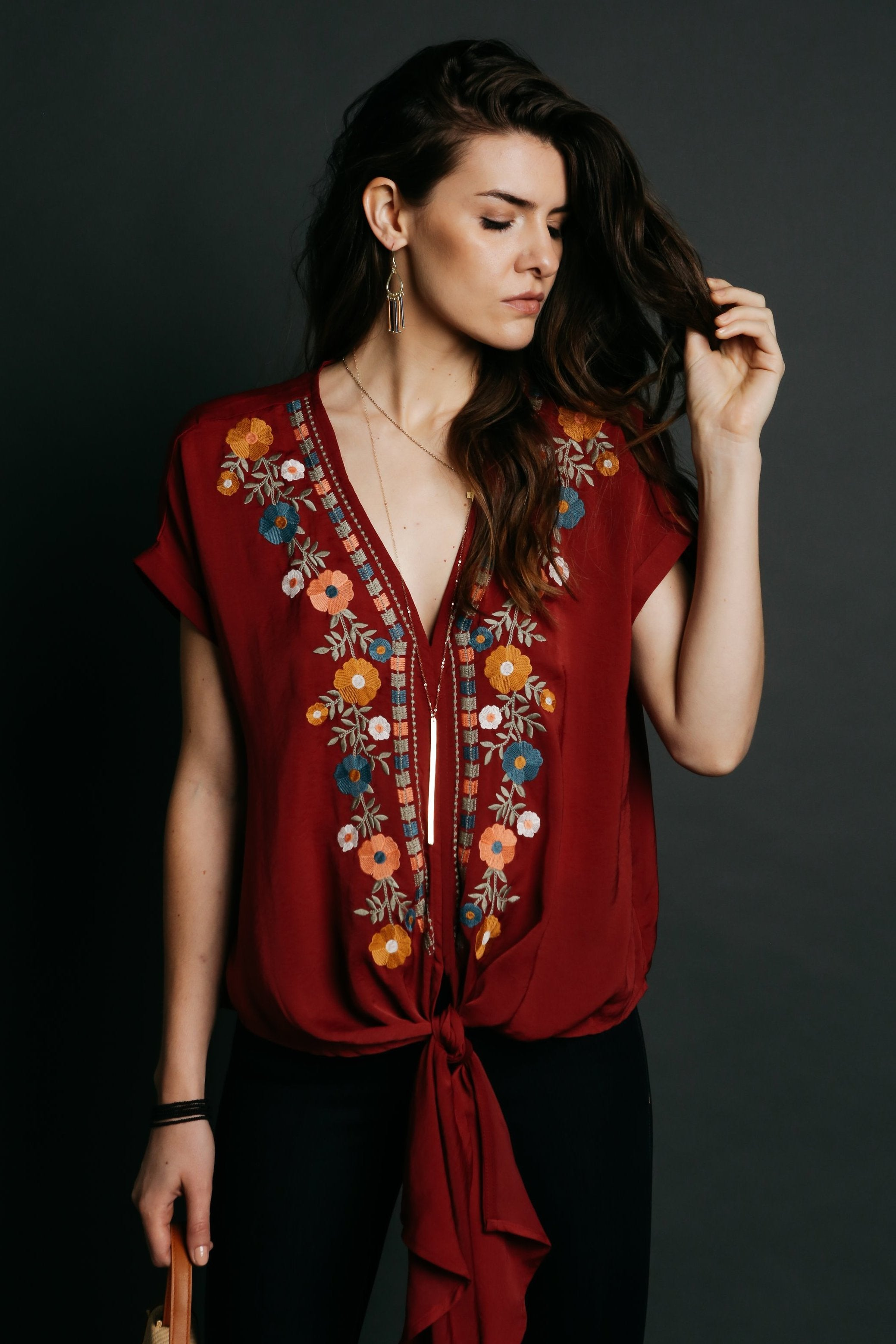 Frances Embroidered Top - Burgundy
