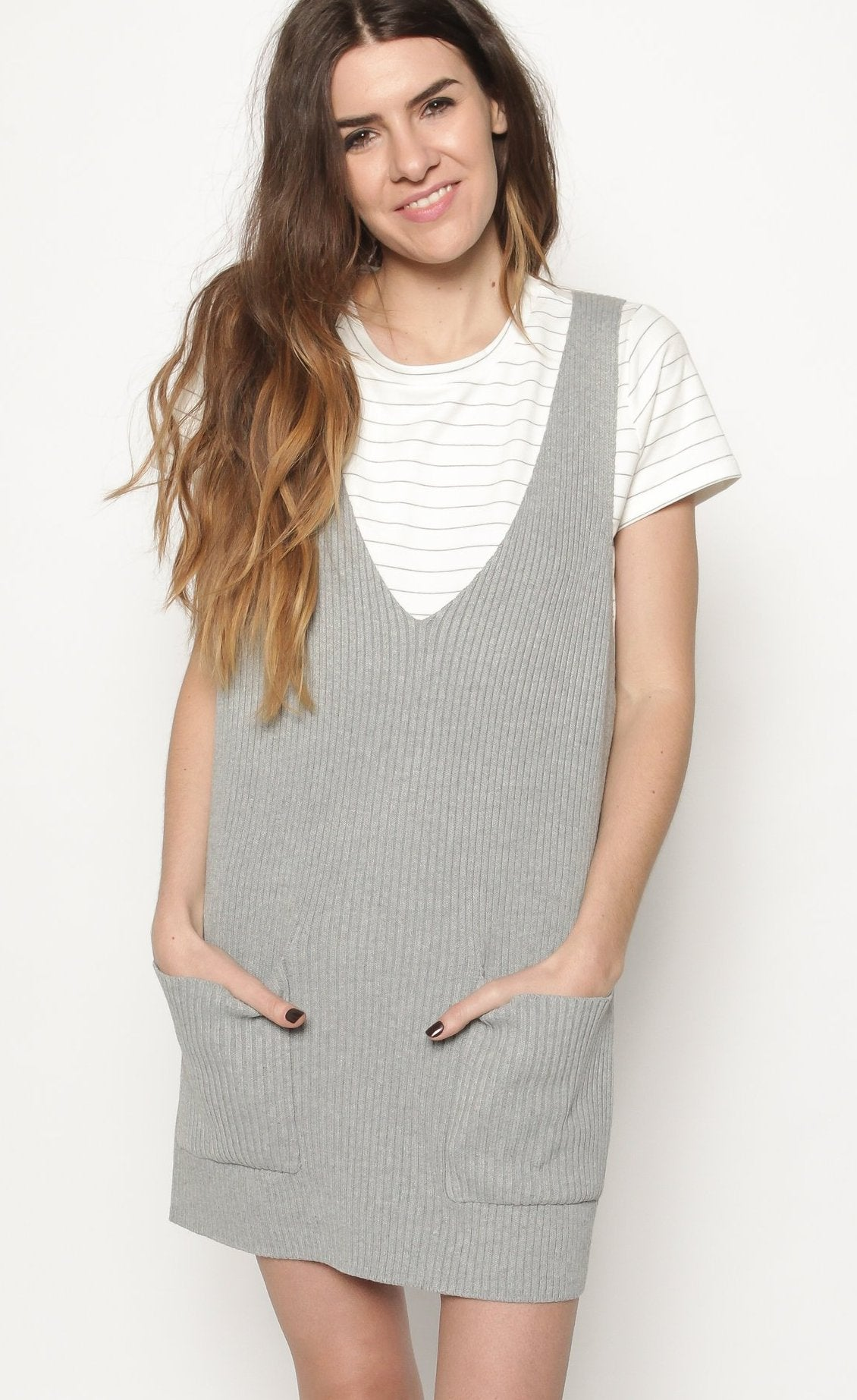 POS Nikki Sleeveless Mini Dress - Heather Grey Dresses - Vinnie Louise