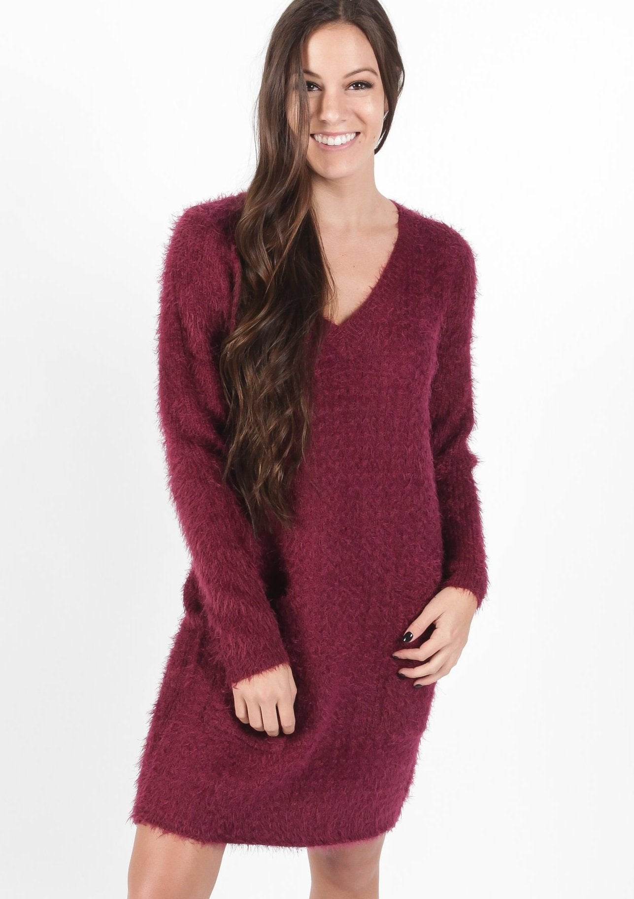 Nova Sweater Dress - Plum Dresses - Vinnie Louise