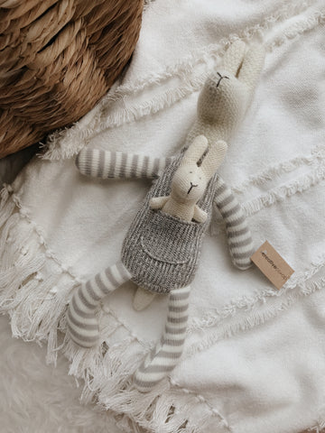 Cotton Knit Kangaroo With Baby - Grey