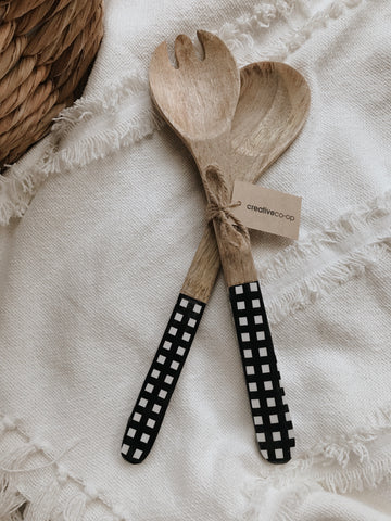 Enameled Mango Wood Salad Servers, Black Gingham
