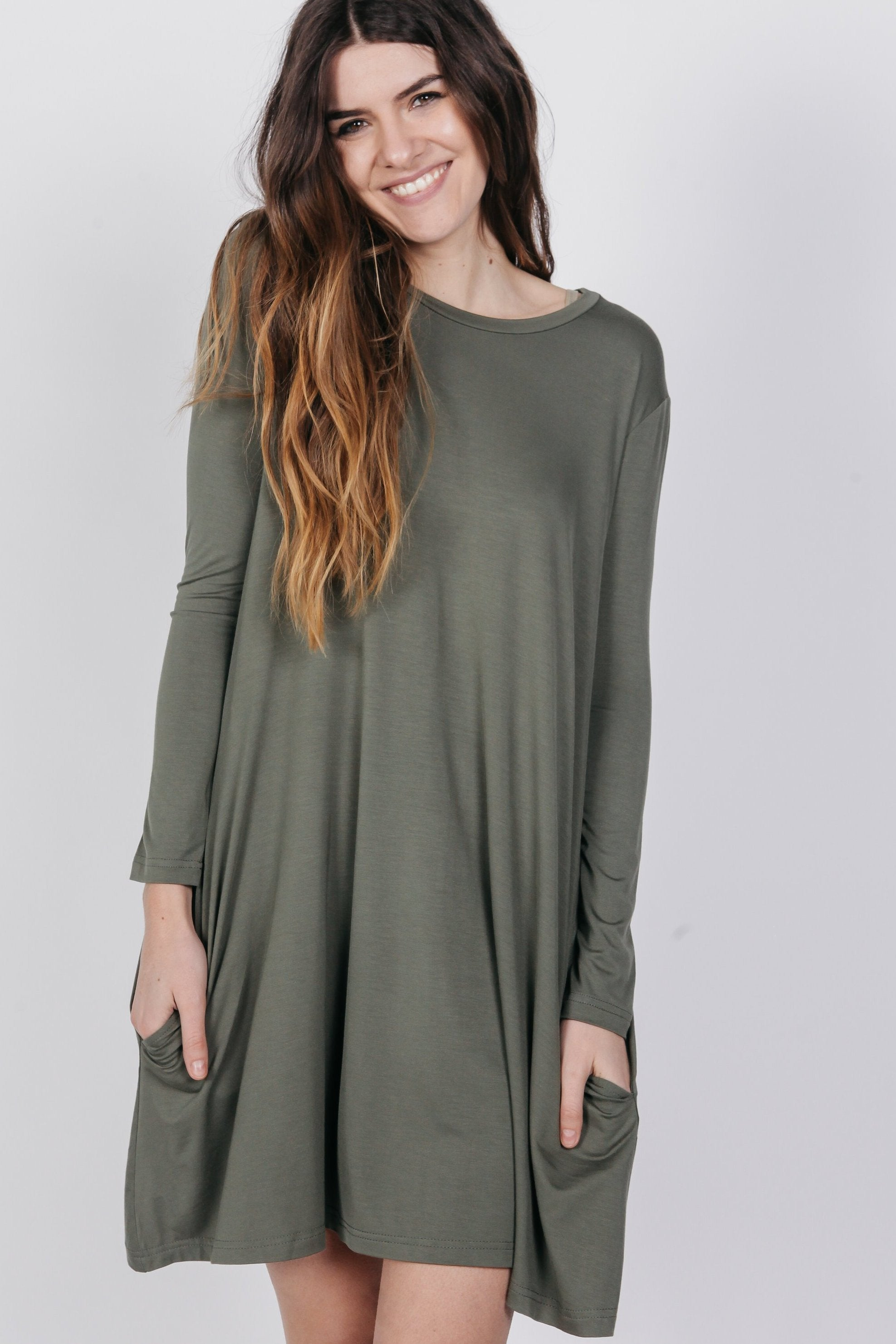 PIKO Long Sleeve Swing Dress - Army Dresses - Vinnie Louise
