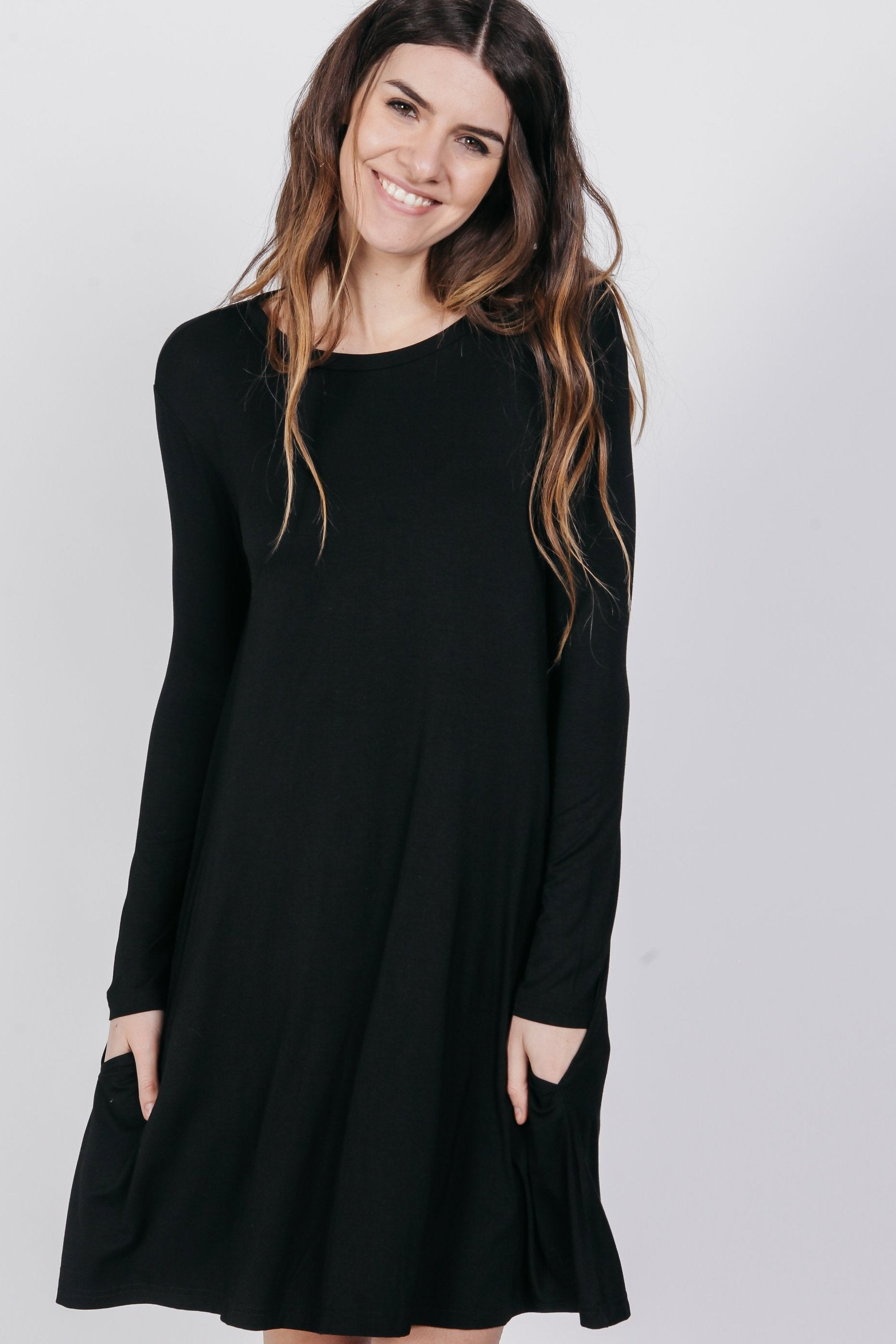 PIKO Long Sleeve Swing Dress - Black