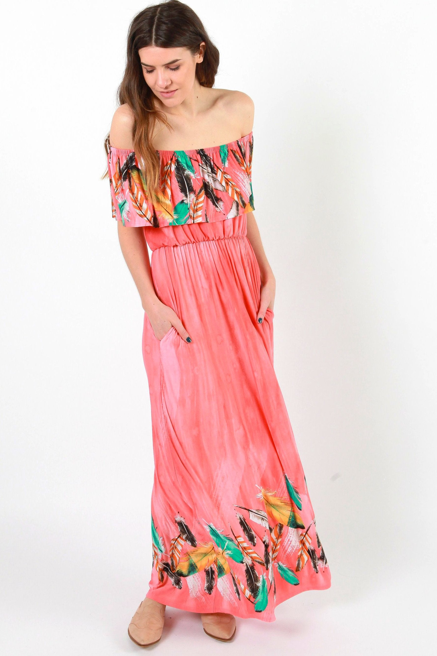 Polly Off the Shoulder Maxi Dress - Coral