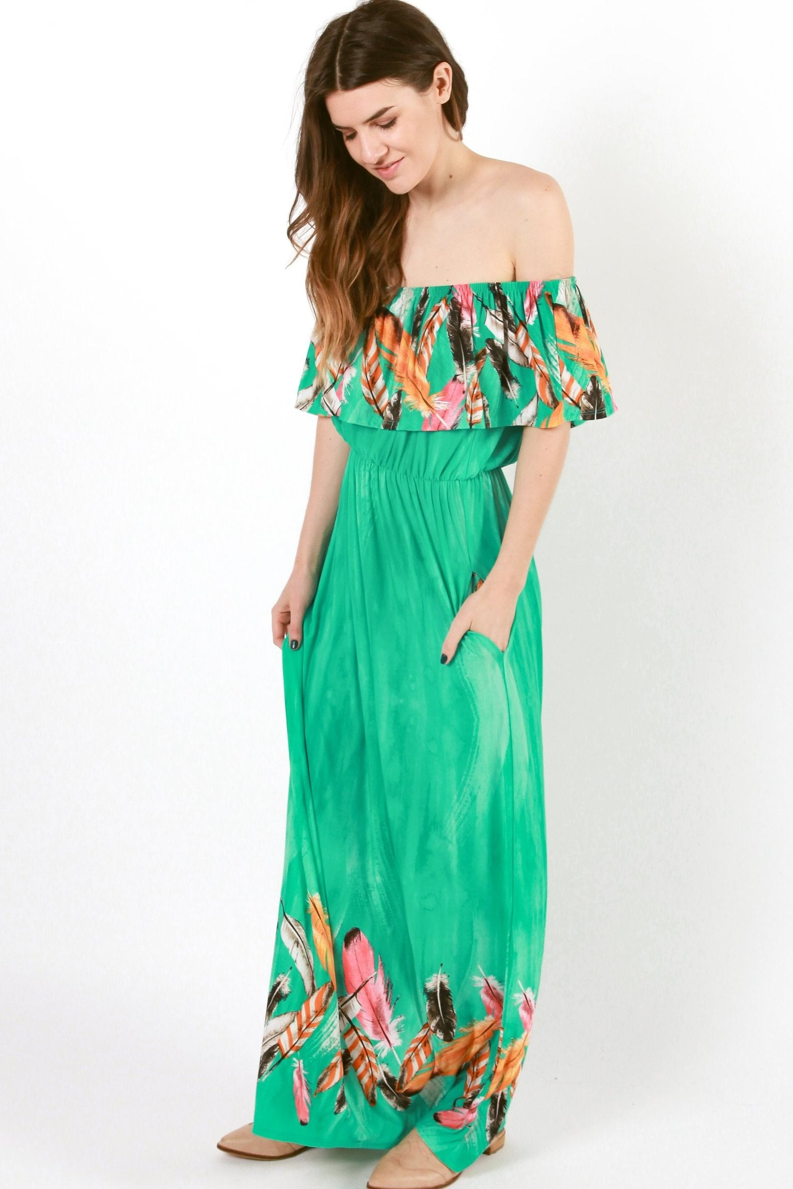 Polly Off the Shoulder Maxi Dress - Turquoise