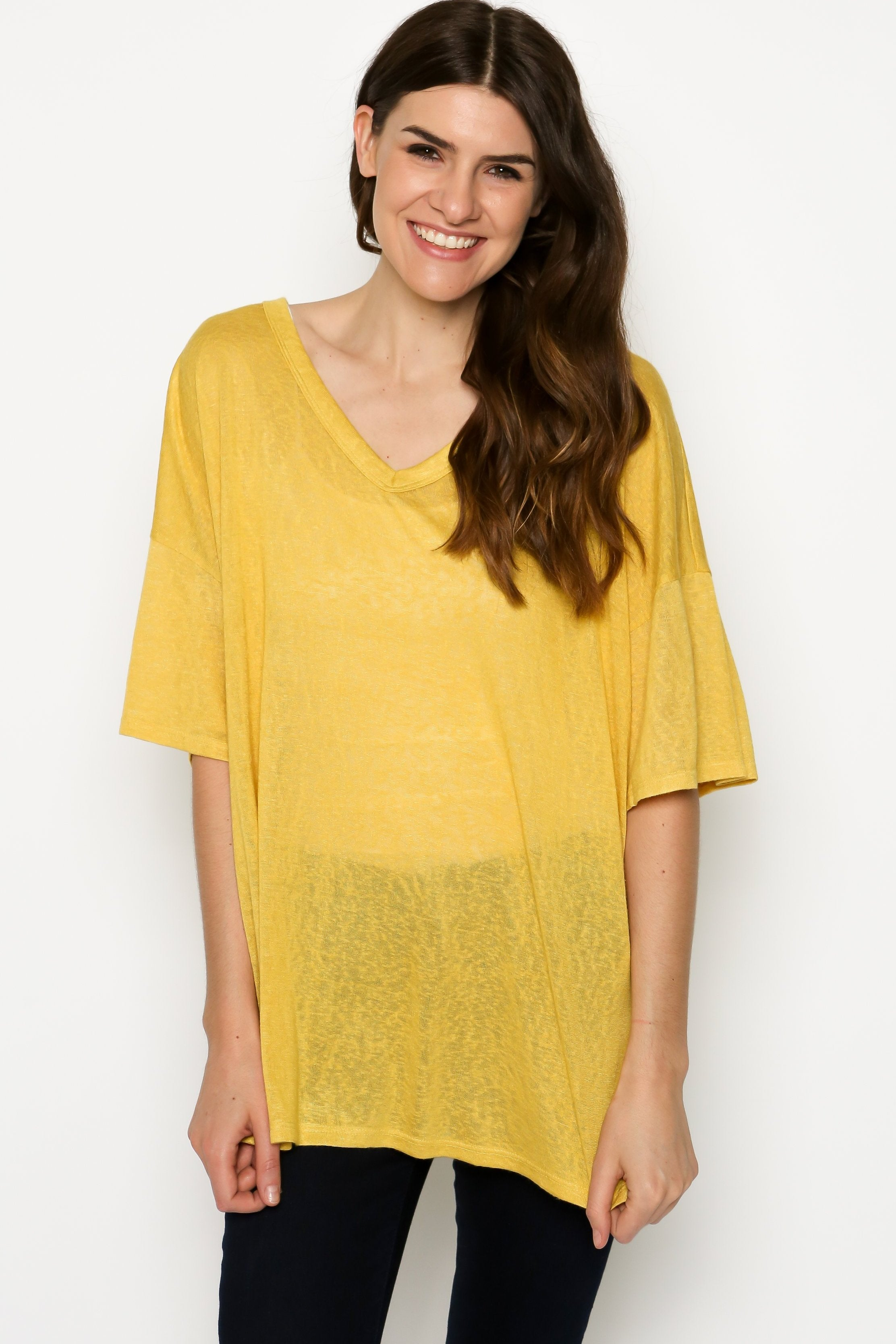 Rae Oversized Tee - Yellow