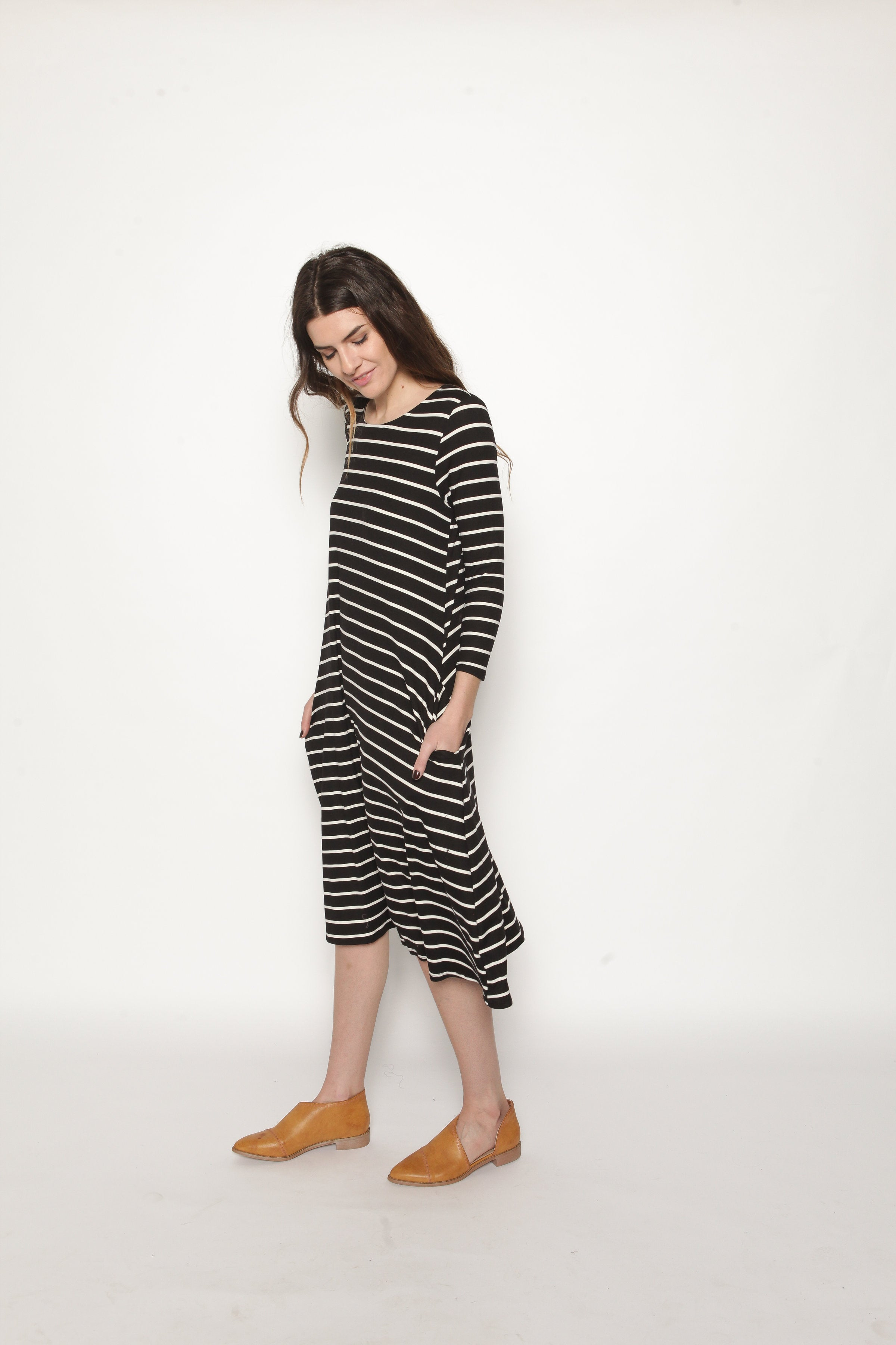 Ramona Striped Midi Dress Dresses - Vinnie Louise