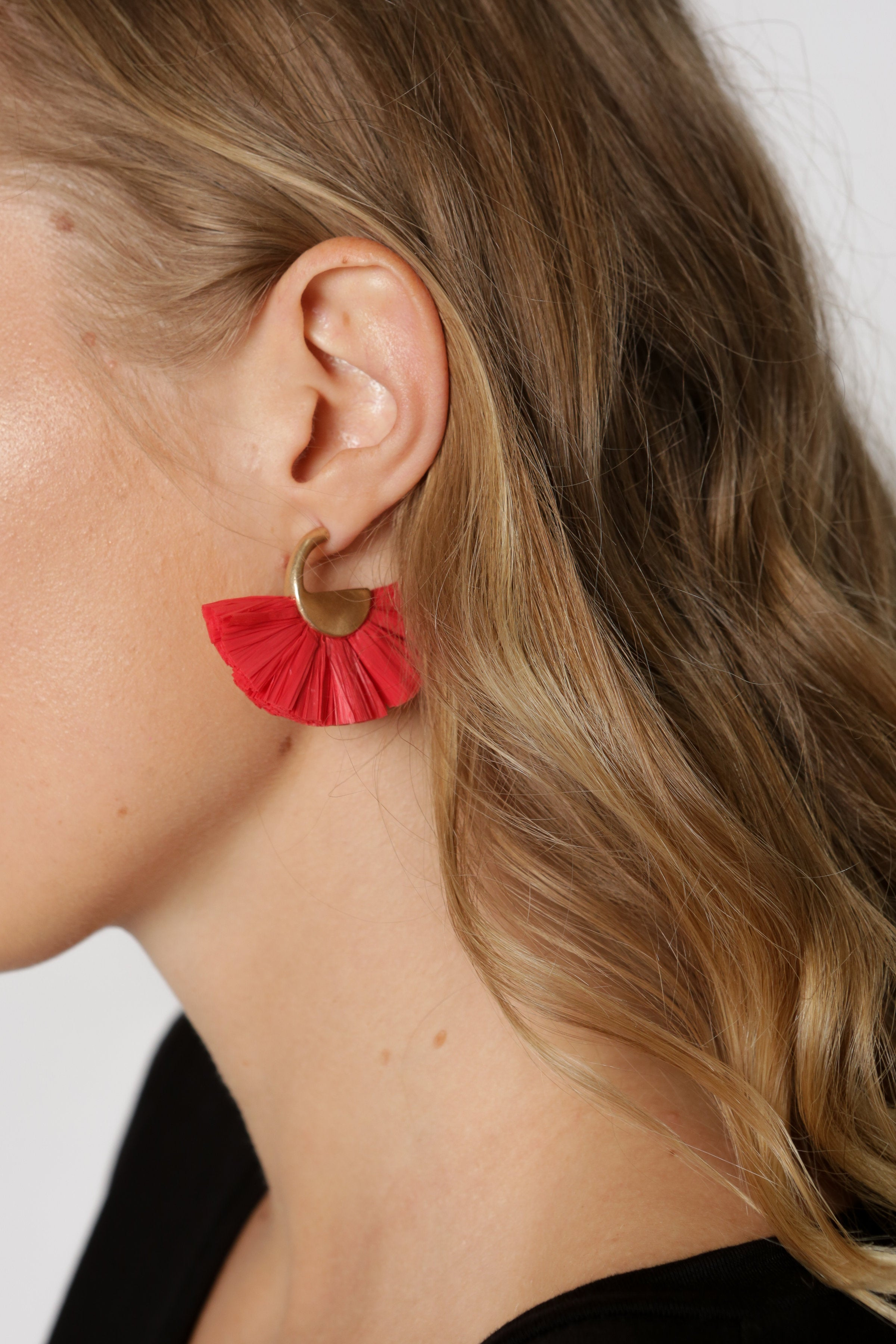 Red Raffia Earrings