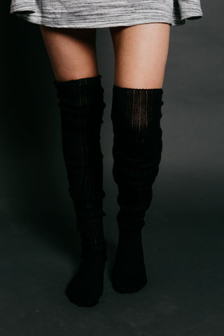 Ribbed Thigh High Socks - Black