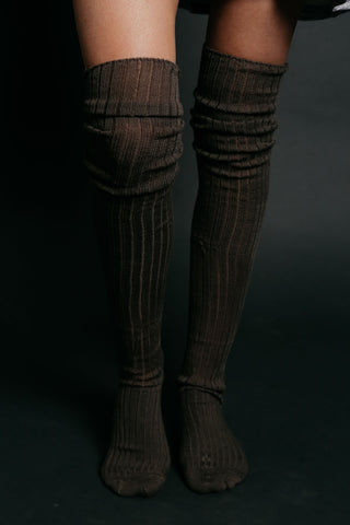 Ribbed Thigh High Socks - Grey