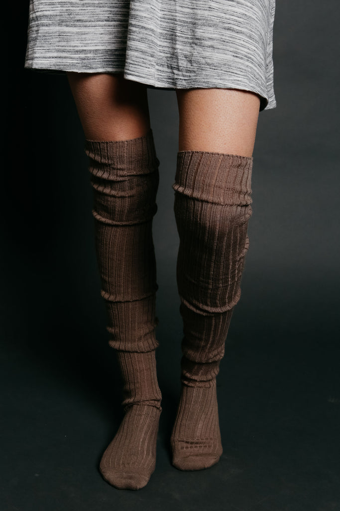 Ribbed Thigh High Socks - Mocha
