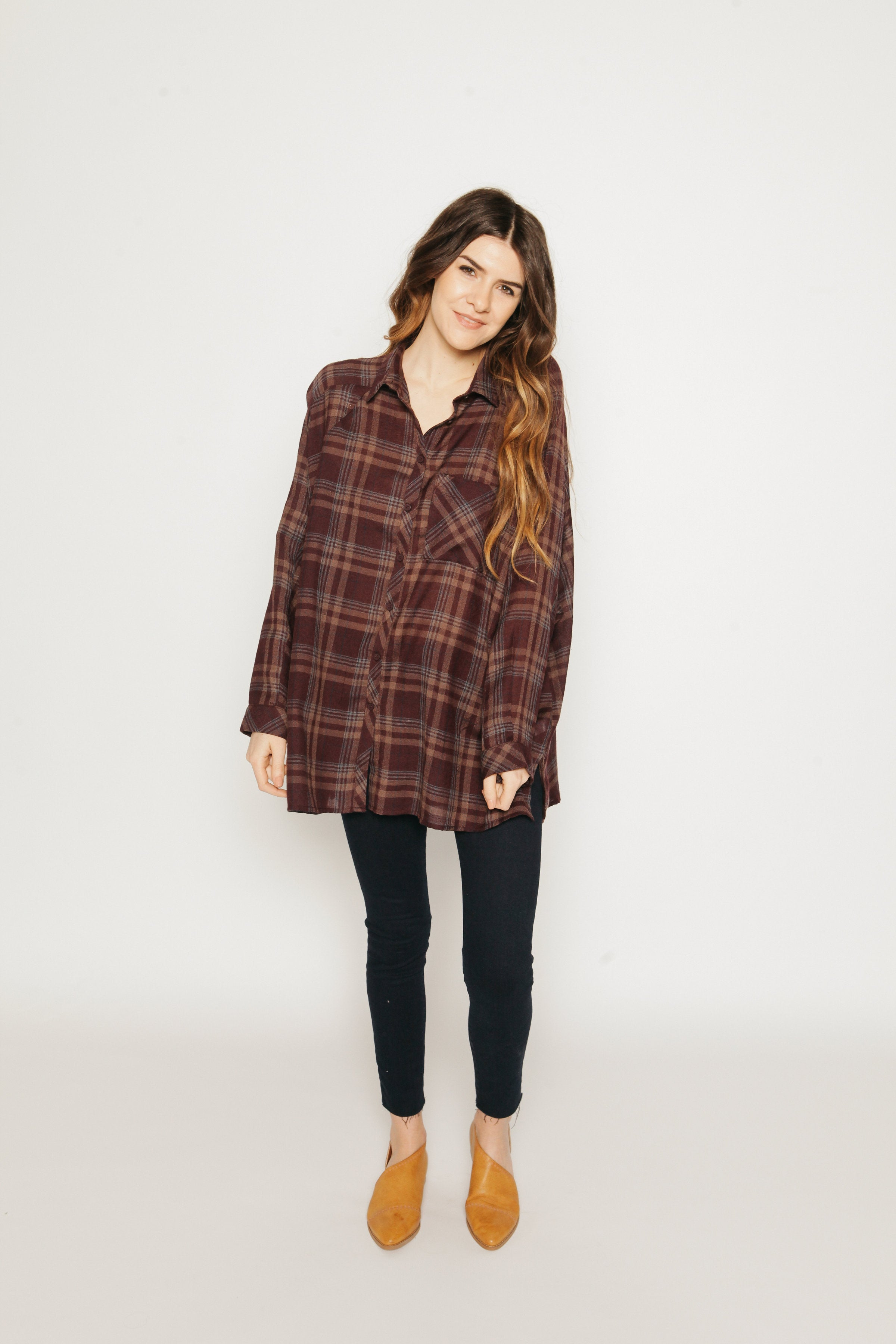 Rory Oversized Button-Up - Wine