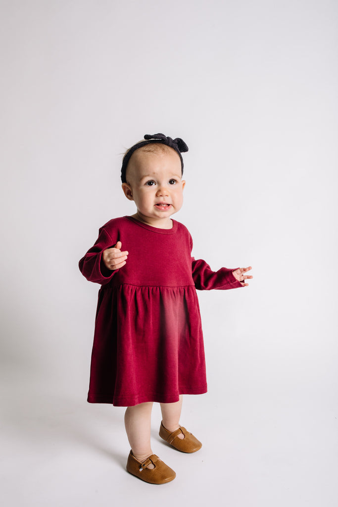 Organic Long Sleeve Dress - Maroon