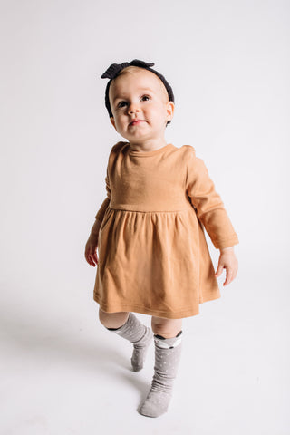 Organic Long Sleeve Dress - Camel