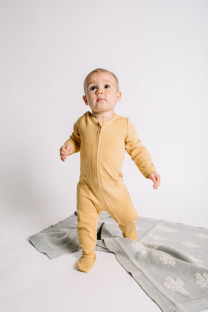 Organic Zip Footies - Mustard