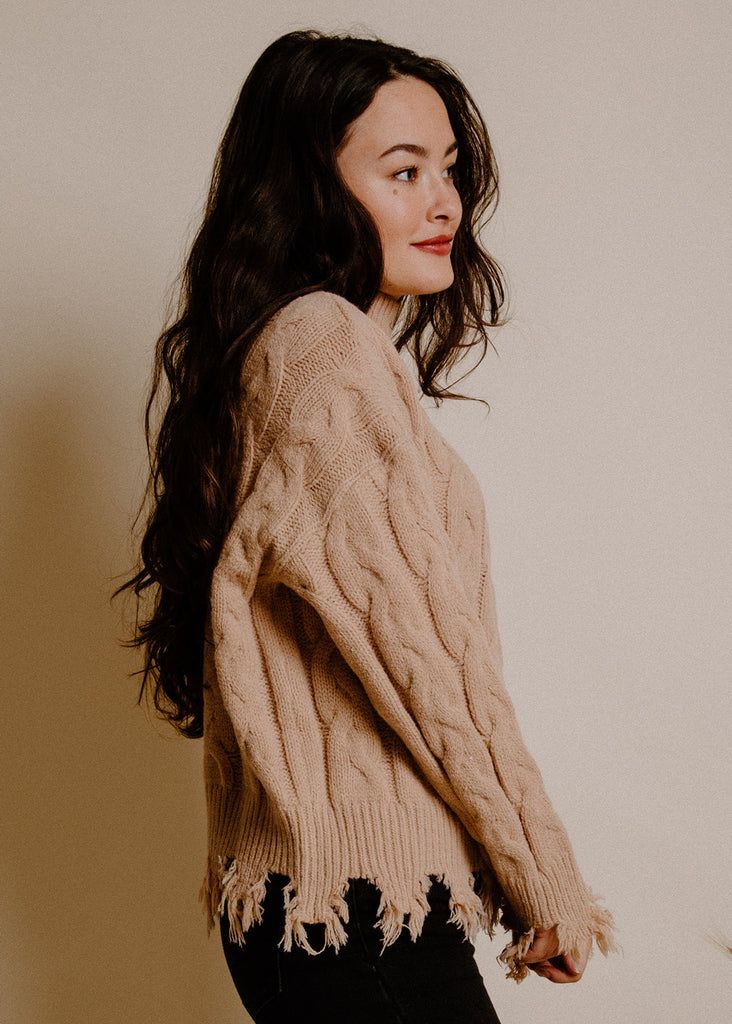 Sandstone Distressed Sweater - Camel