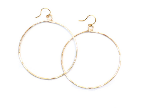 Olive Hammered Hoops - Gold