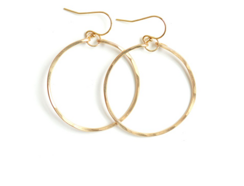Small Hammered Hoops - Gold