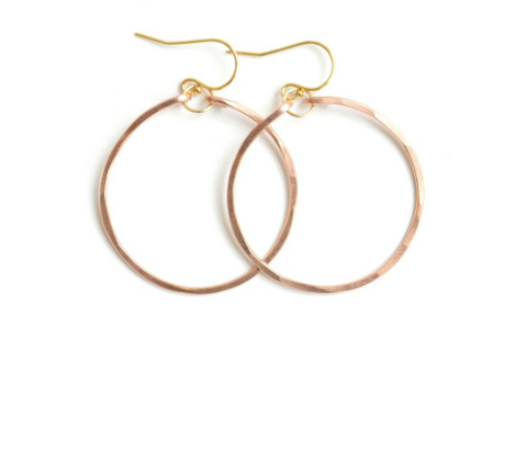 Small Hammered Hoops - Rose Gold