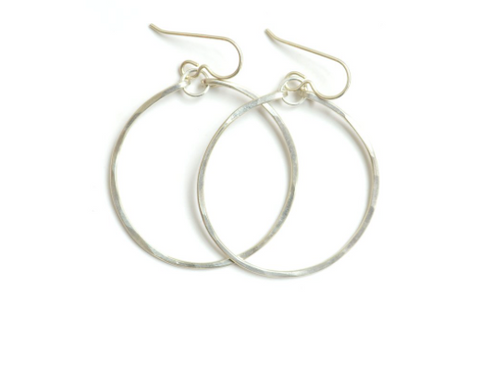 Small Hammered Hoops - Silver