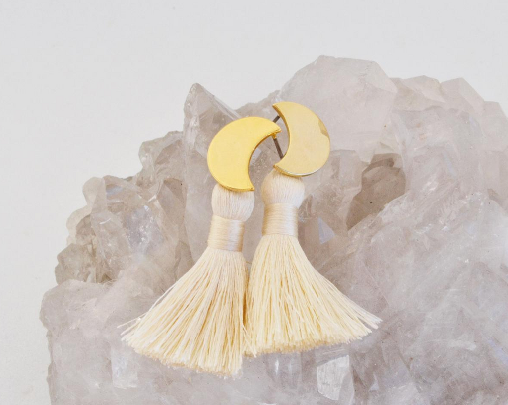 Moon Tassel Earrings - Ivory