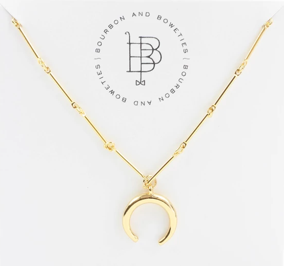 Gold Crescent Horn Necklace