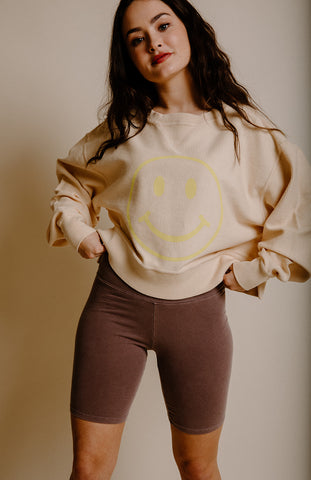 Smiley Face Cropped Corded Sweatshirt