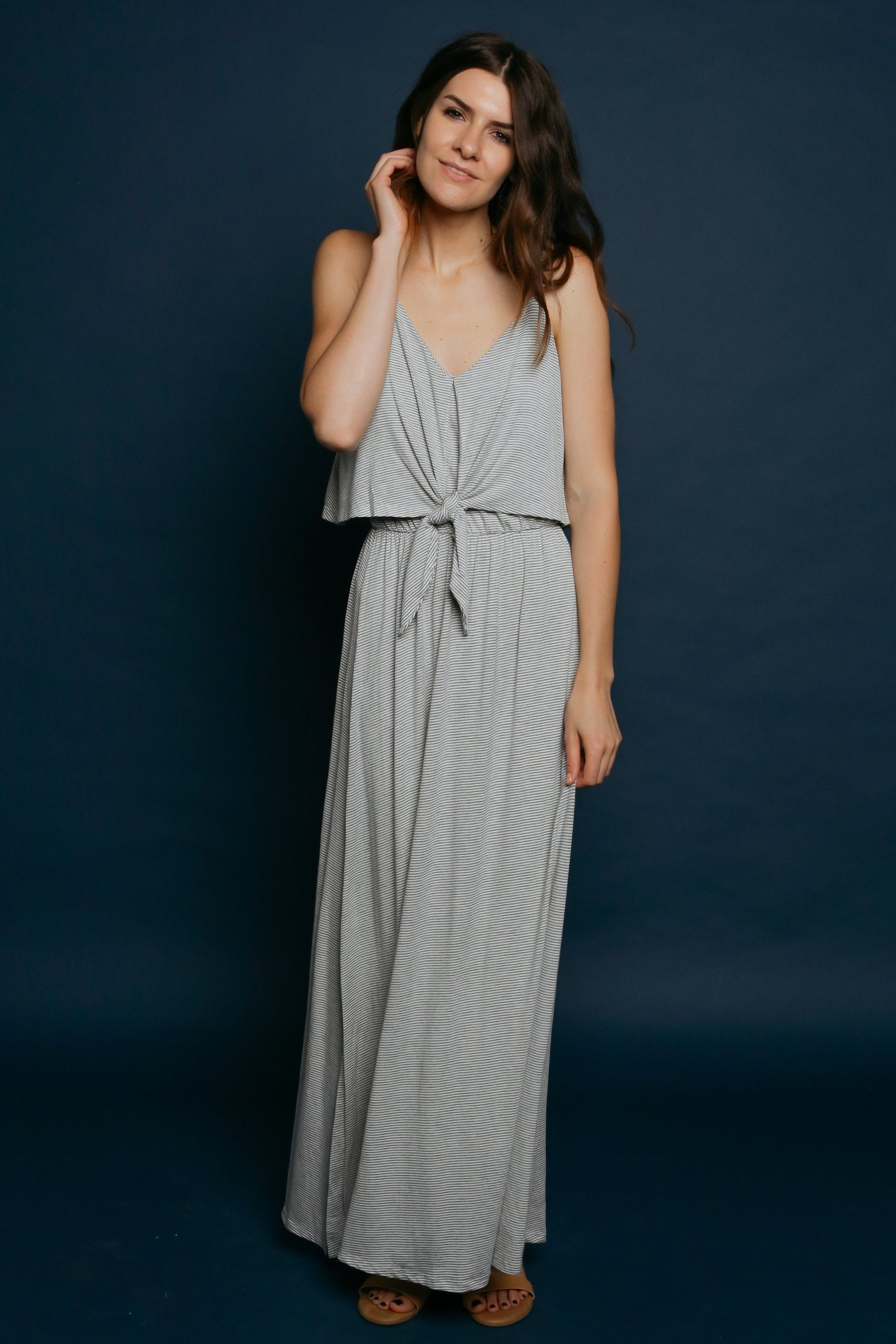 Tasha Striped Maxi Dress - Heather Grey