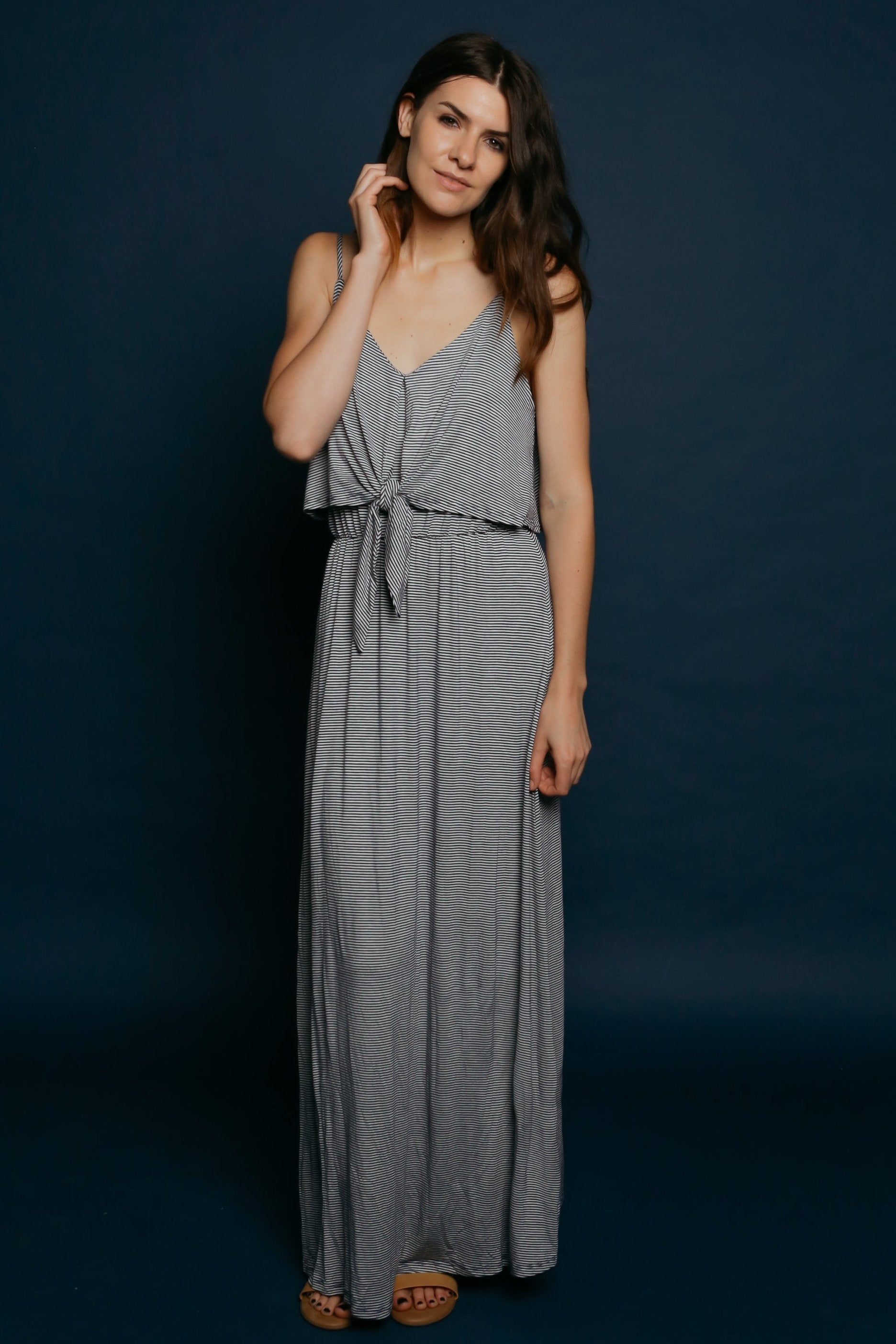 Tasha Striped Maxi Dress - Navy