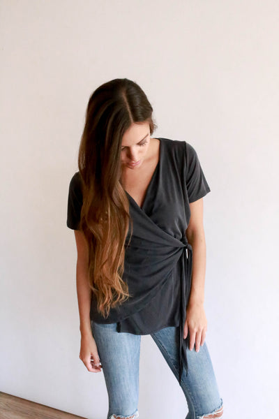 The Wrap Top - Charcoal