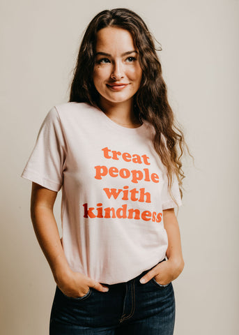 Treat People With Kindness Tee - Pink