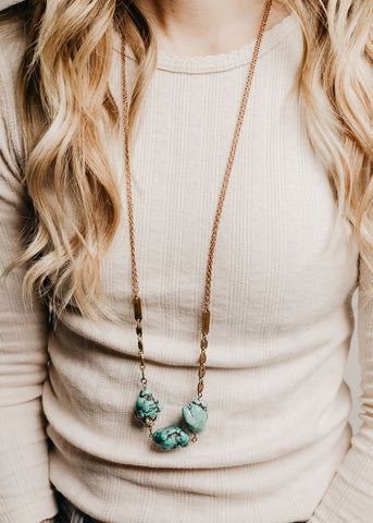Turquoise Chunk & Bar Necklace