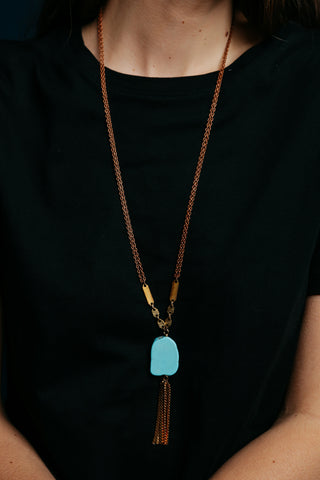 Turquoise & Tassel Necklace