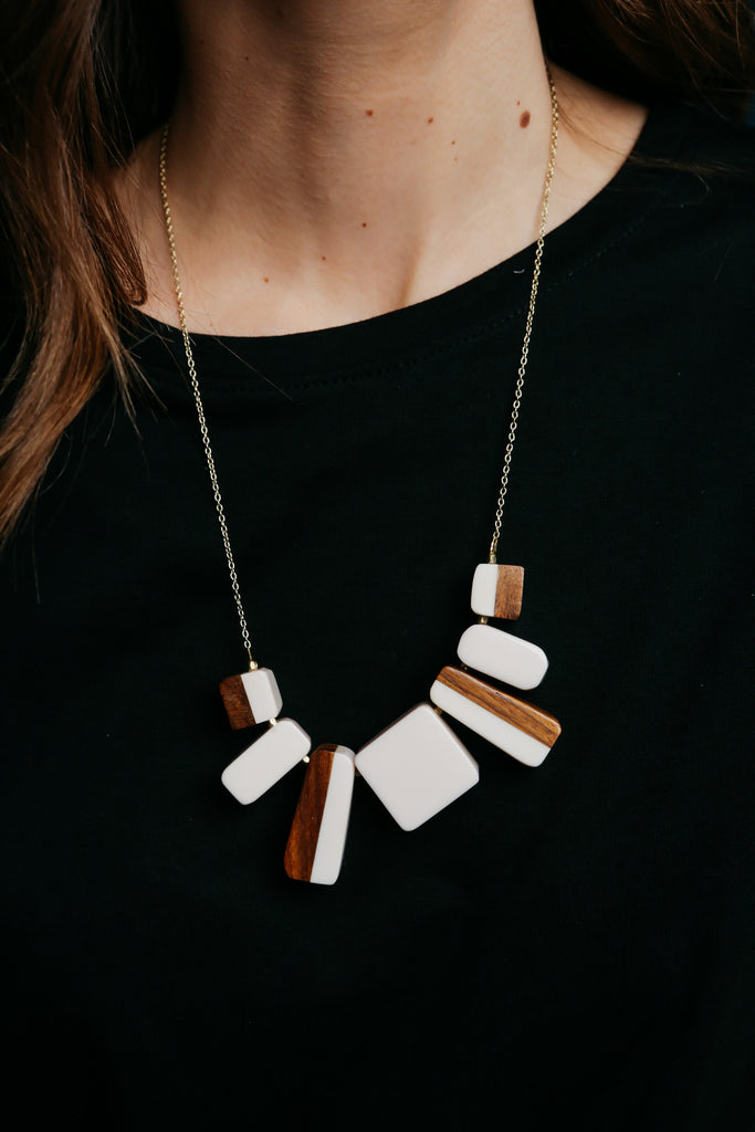 Two Tone Block Necklace