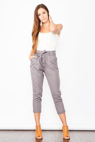 High Waisted Linen Pants - Grey
