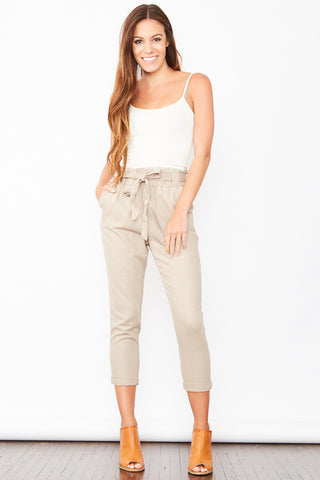 High Waisted Linen Pants - Taupe
