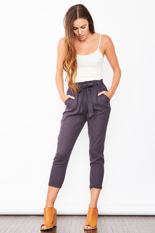 High Waisted Linen Pants - Navy