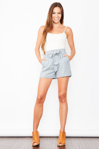 Linen Shorts - Blue Grey